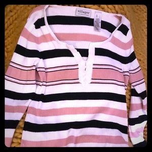 Ladies - large v neck sweater with stripes
